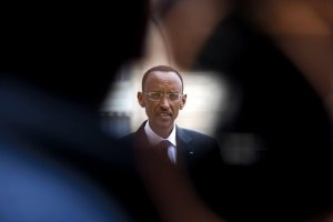Almost professorial in manner, Kagame cuts an unusual figure for a former guerrilla leader. (Fred Dufour/AFP/Getty)